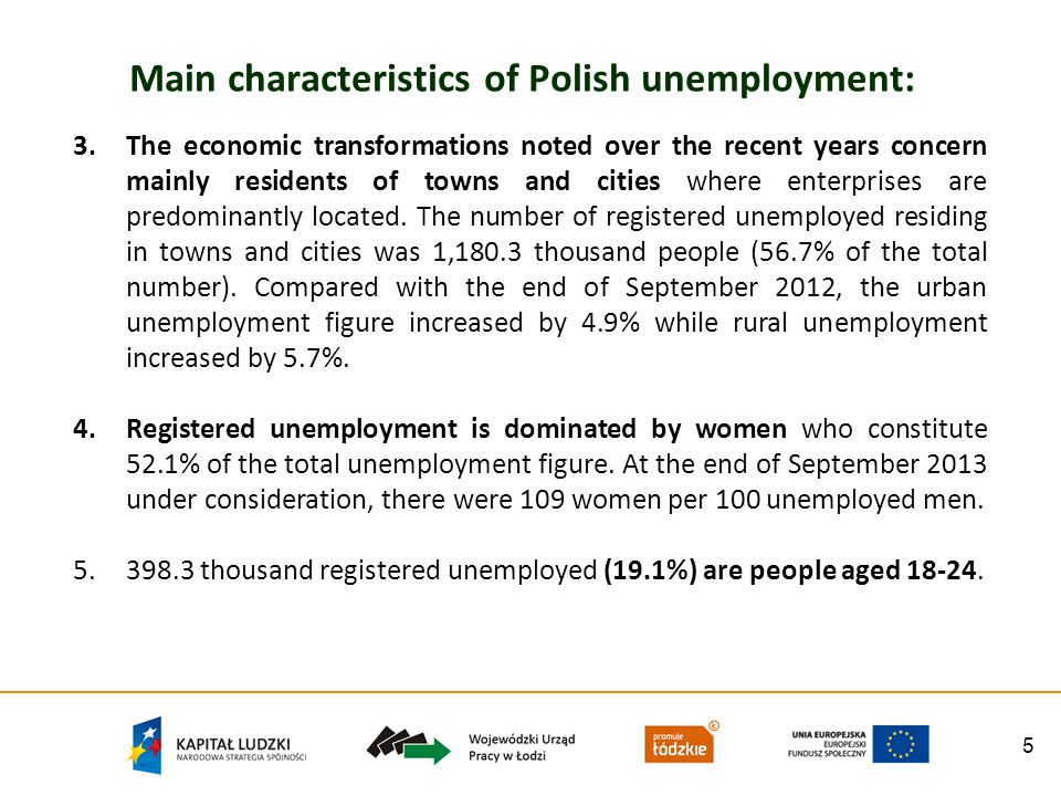 5 Main characteristics of Polish unemployment: 3.The economic transformations noted over the recent years concern mainly residents of towns and cities where enterprises are predominantly located.