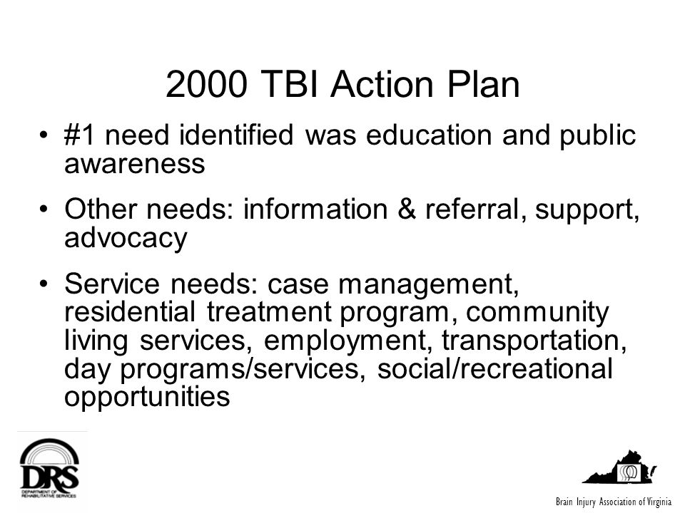 2000 TBI Action Plan #1 need identified was education and public awareness Other needs: information & referral, support, advocacy Service needs: case management, residential treatment program, community living services, employment, transportation, day programs/services, social/recreational opportunities Brain Injury Association of Virginia