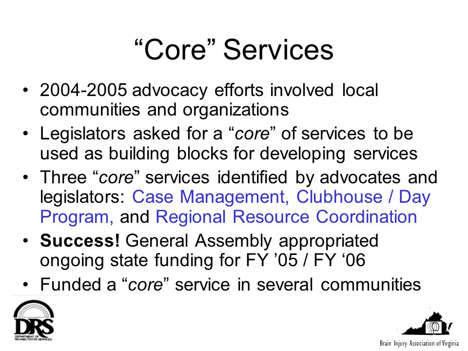2005 Town Meetings Solicit feedback on the three core services, as well as on Community Living Supports and Residential Services To update Virginias BI Action Plan, DRS wants to know: –Do core services meet needs in most local communities.