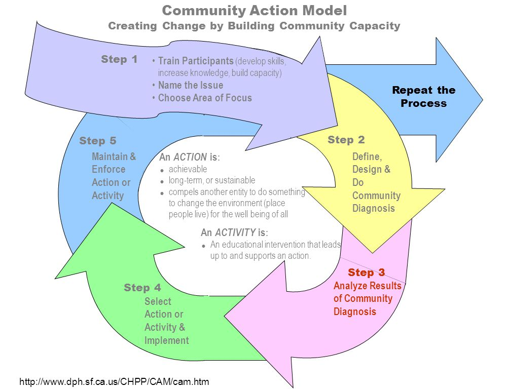 Community Action Model Creating Change by Building Community Capacity Maintain & Enforce Action or Activity Step 5 Repeat the Process Select Action or