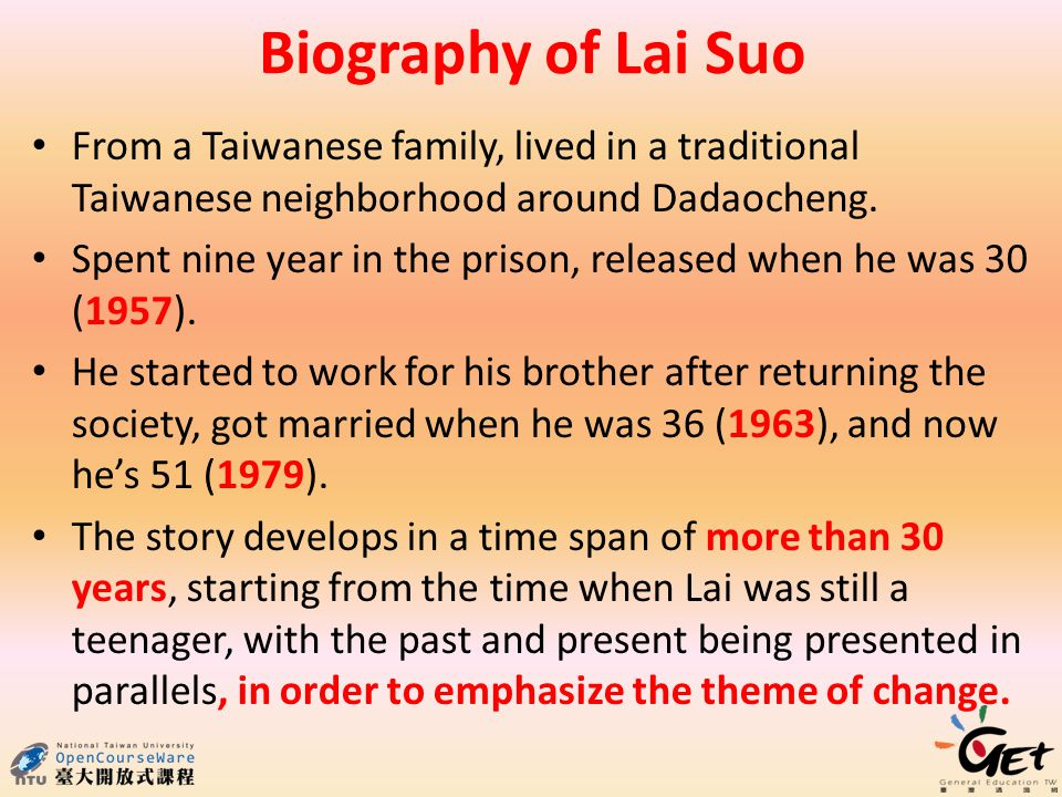 Biography of Lai Suo From a Taiwanese family, lived in a traditional Taiwanese neighborhood around Dadaocheng.
