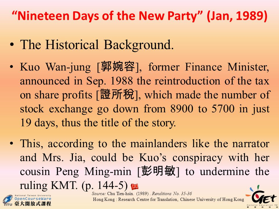 Nineteen Days of the New Party (Jan, 1989) The Historical Background.