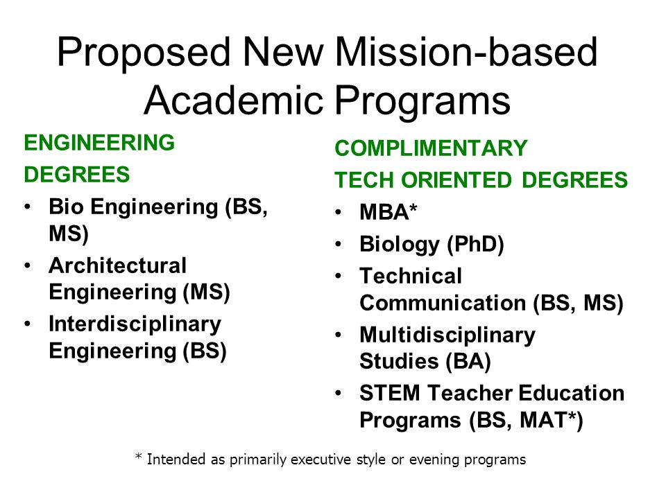 Proposed New Mission-based Academic Programs ENGINEERING DEGREES Bio Engineering (BS, MS) Architectural Engineering (MS) Interdisciplinary Engineering (BS) COMPLIMENTARY TECH ORIENTED DEGREES MBA* Biology (PhD) Technical Communication (BS, MS) Multidisciplinary Studies (BA) STEM Teacher Education Programs (BS, MAT*) * Intended as primarily executive style or evening programs