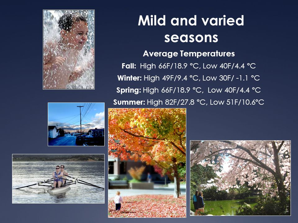 Mild and varied seasons Average Temperatures Fall: High 66F/18.9 ºC, Low 40F/4.4 ºC Winter: High 49F/9.4 ºC, Low 30F/ -1.1 ºC Spring: High 66F/18.9 ºC, Low 40F/4.4 ºC Summer: High 82F/27.8 ºC, Low 51F/10.6ºC