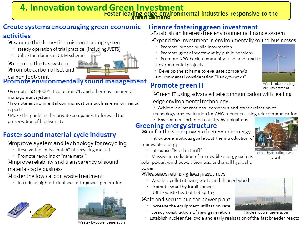 4. Innovation toward Green Investment Foster leading-edge environmental industries responsive to the green demand Create systems encouraging green eco