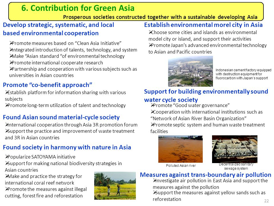 6. Contribution for Green Asia Prosperous societies constructed together with a sustainable developing Asia Develop strategic, systematic, and local b