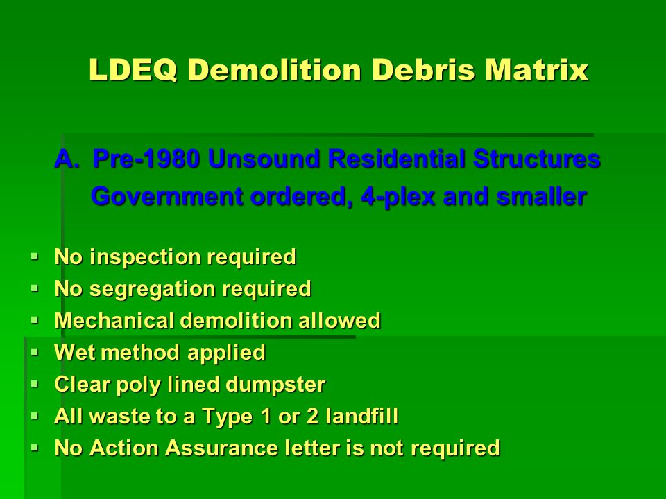 LDEQ Demolition Debris Matrix A.