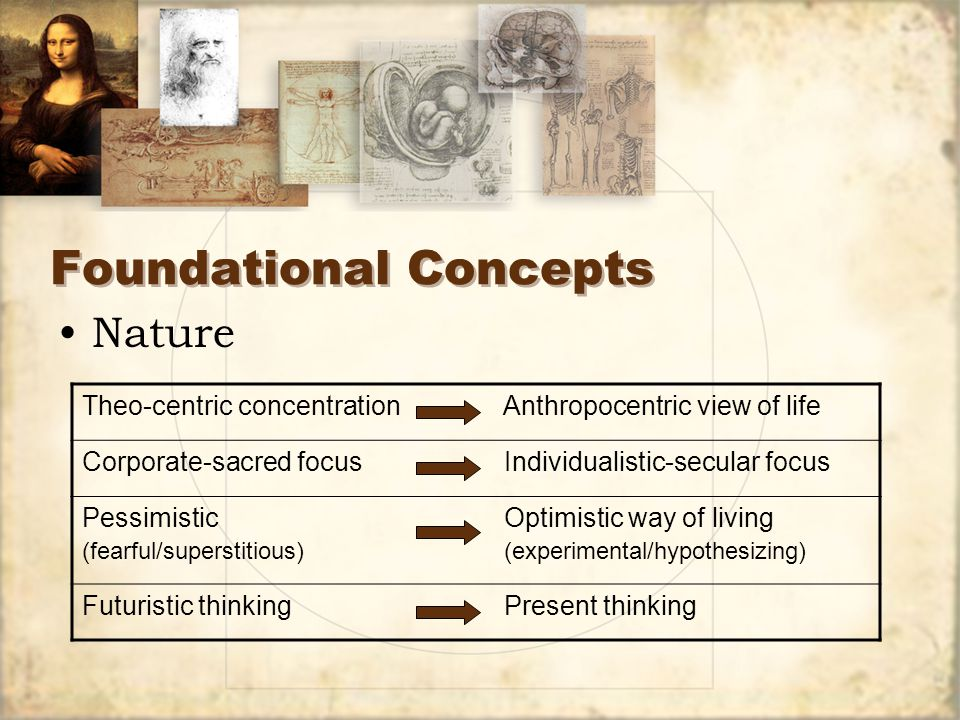 Foundational Concepts Sources 1.Economic transformation 2.Centralizing governments 3.Rise of Italian merchant cities as independent republics 4.Proliferation of written materials 5.Nominalism replaced realism as philosophical foundation Sources 1.Economic transformation 2.Centralizing governments 3.Rise of Italian merchant cities as independent republics 4.Proliferation of written materials 5.Nominalism replaced realism as philosophical foundation