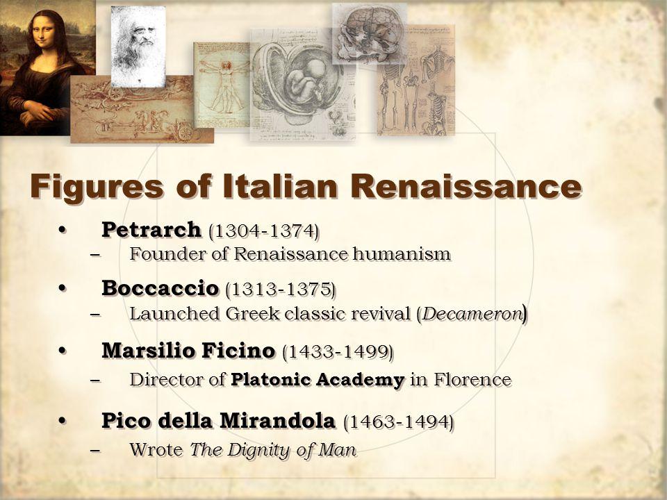 Figures of Italian Renaissance Petrarch (1304-1374) –Founder of Renaissance humanism Boccaccio (1313-1375) –Launched Greek classic revival ( Decameron ) Marsilio Ficino (1433-1499) –Director of Platonic Academy in Florence Pico della Mirandola (1463-1494) –Wrote The Dignity of Man Petrarch (1304-1374) –Founder of Renaissance humanism Boccaccio (1313-1375) –Launched Greek classic revival ( Decameron ) Marsilio Ficino (1433-1499) –Director of Platonic Academy in Florence Pico della Mirandola (1463-1494) –Wrote The Dignity of Man