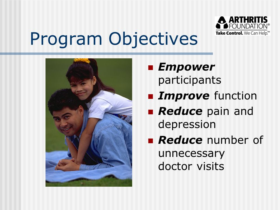 Program Objectives Empower participants Improve function Reduce pain and depression Reduce number of unnecessary doctor visits