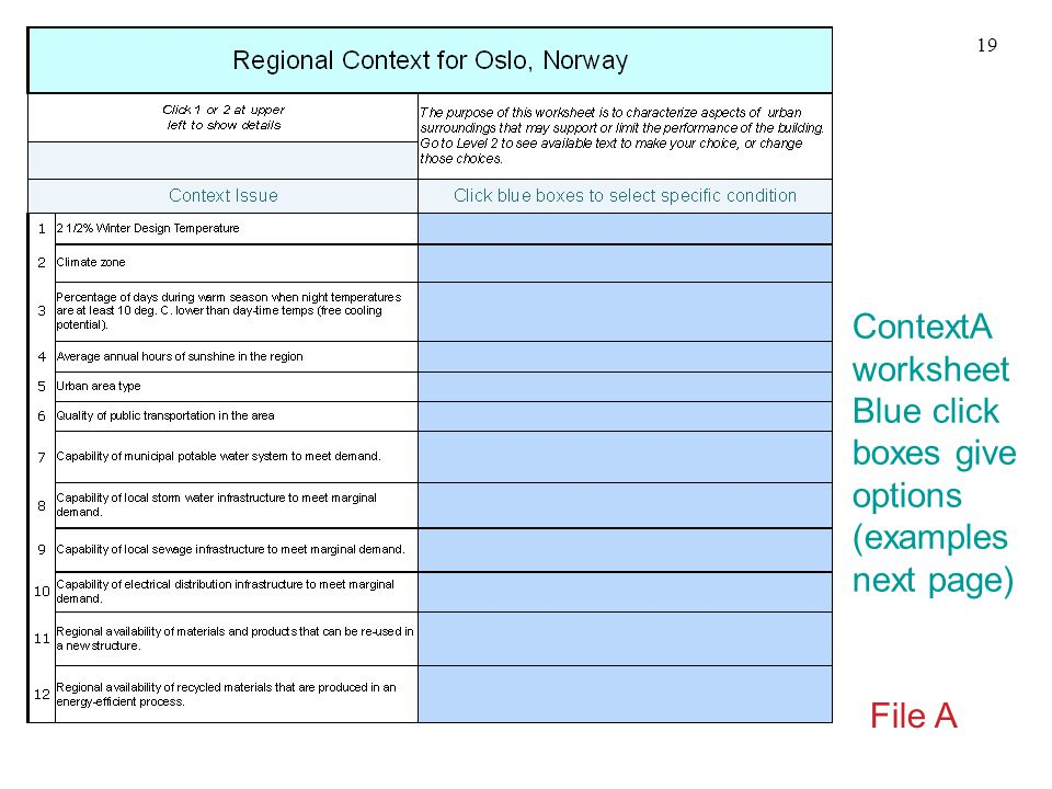 ContextA worksheet Blue click boxes give options (examples next page) File A 19