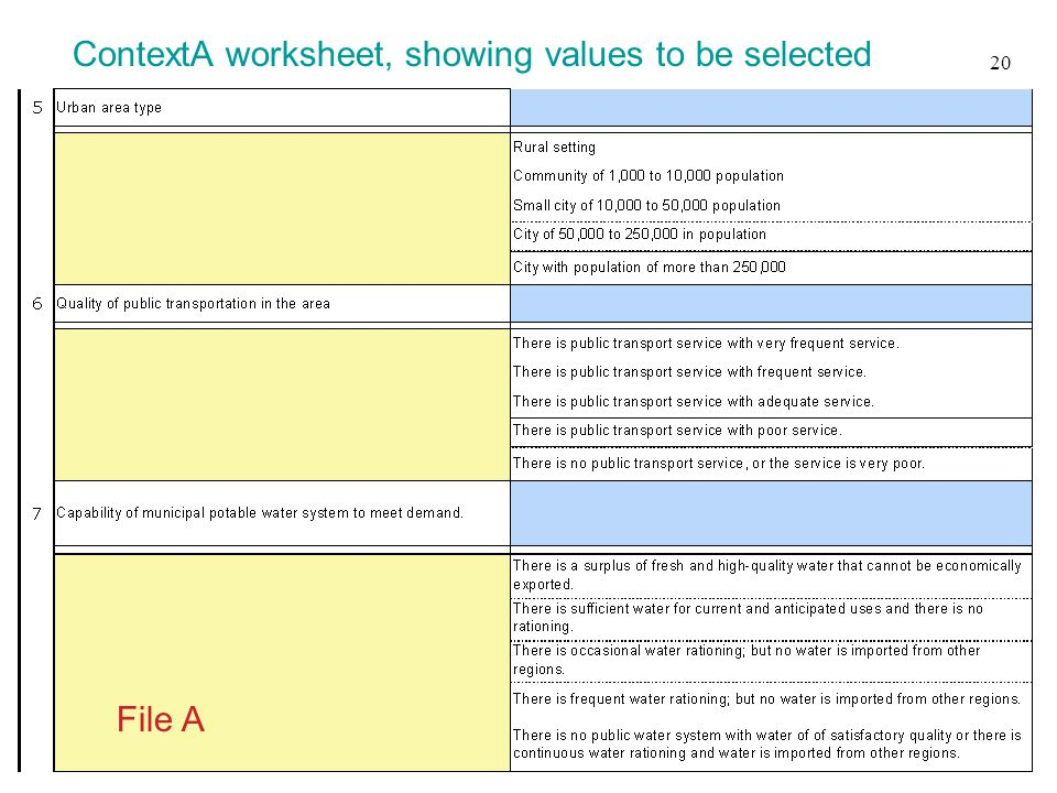 File A 20 ContextA worksheet, showing values to be selected