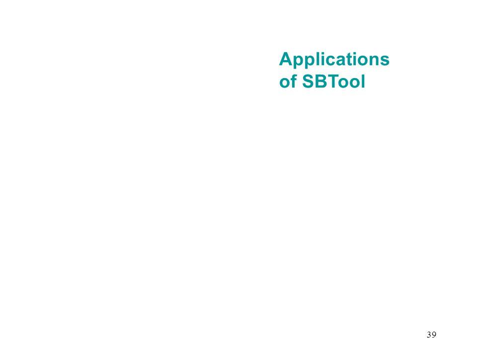 39 Applications of SBTool