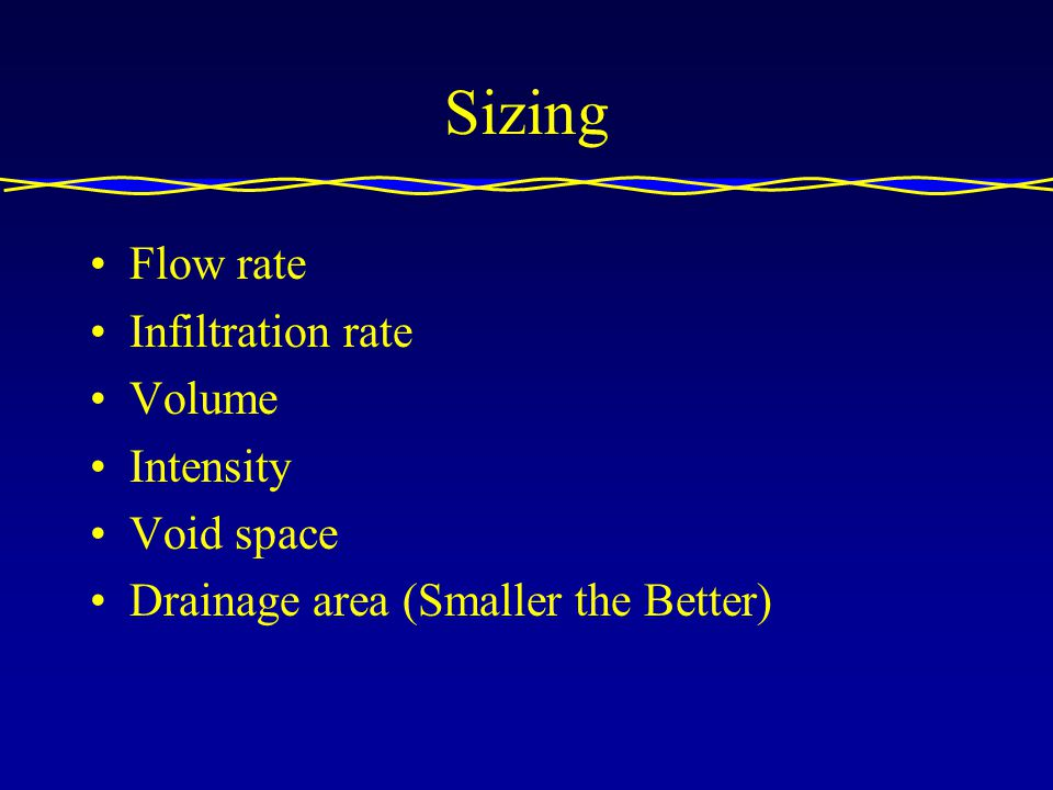 Sizing Flow rate Infiltration rate Volume Intensity Void space Drainage area (Smaller the Better)
