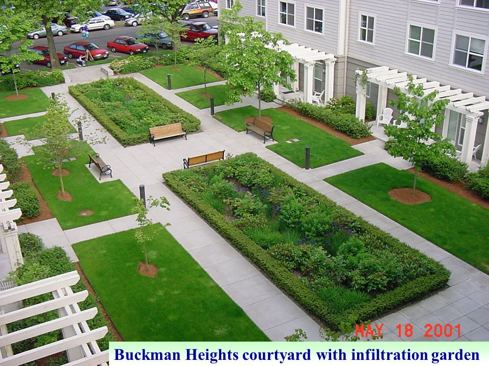 Buckman Heights courtyard with infiltration garden