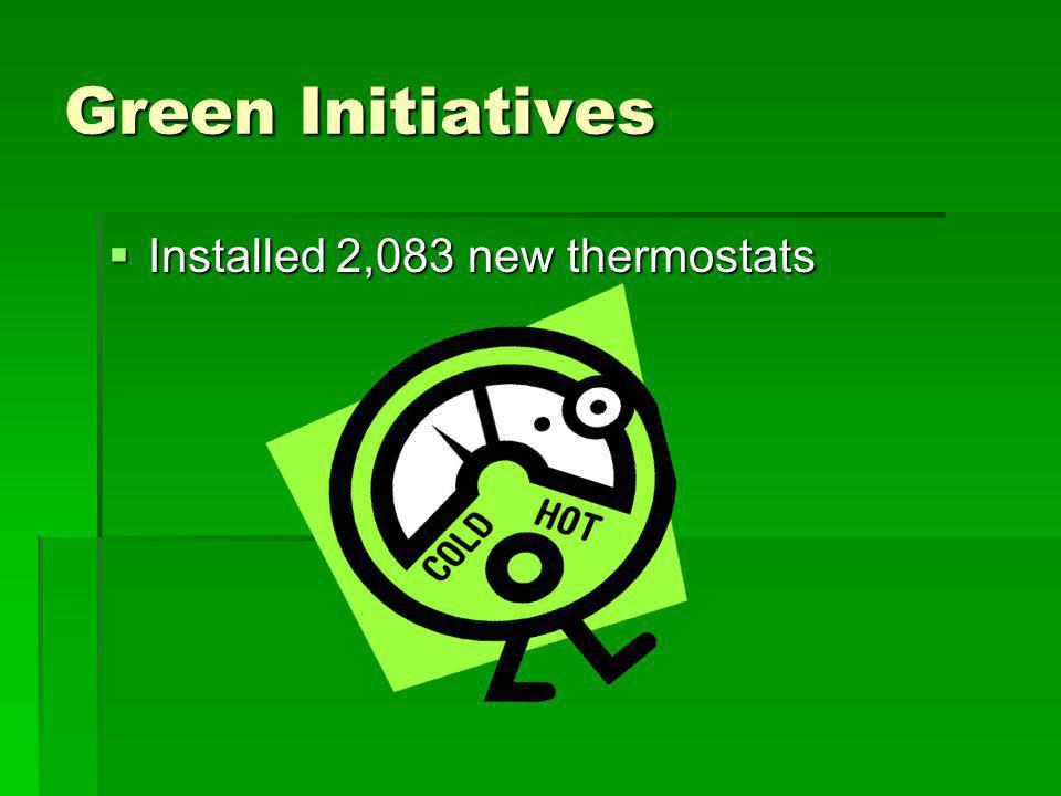 Green Initiatives Installed 2,083 new thermostats Installed 2,083 new thermostats
