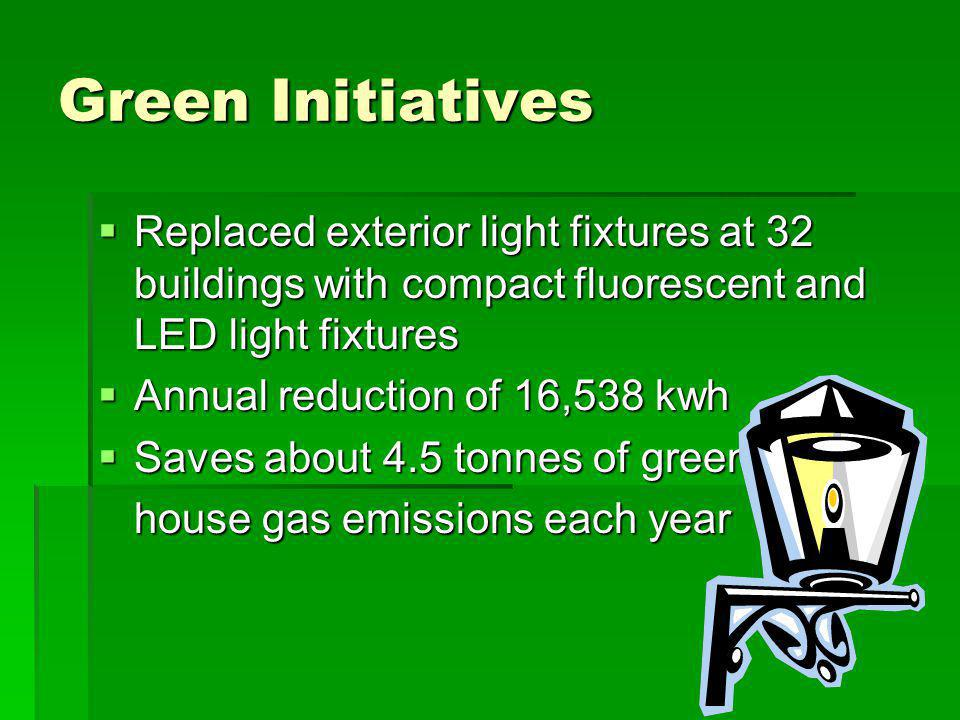 Green Initiatives Replaced exterior light fixtures at 32 buildings with compact fluorescent and LED light fixtures Replaced exterior light fixtures at 32 buildings with compact fluorescent and LED light fixtures Annual reduction of 16,538 kwh Annual reduction of 16,538 kwh Saves about 4.5 tonnes of green Saves about 4.5 tonnes of green house gas emissions each year