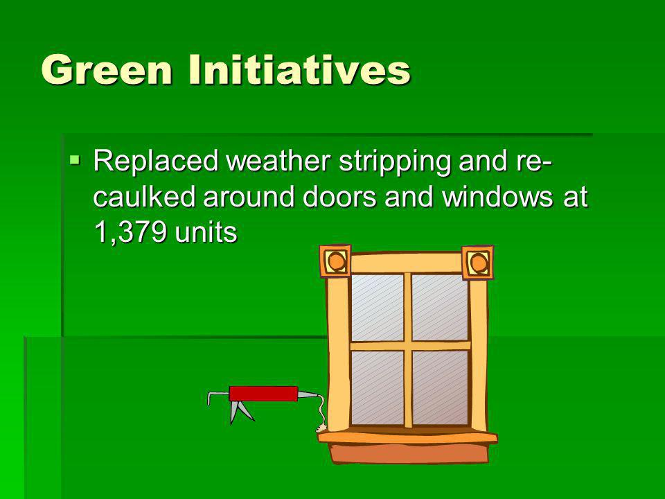 Green Initiatives Replaced weather stripping and re- caulked around doors and windows at 1,379 units Replaced weather stripping and re- caulked around doors and windows at 1,379 units
