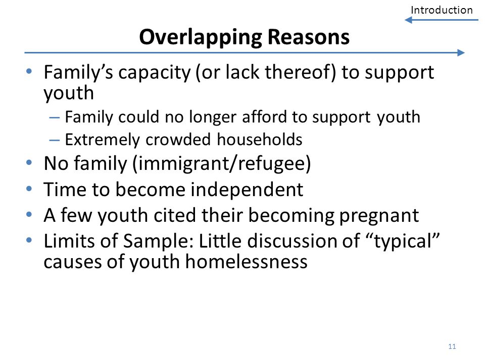 Introduction Overlapping Reasons Familys capacity (or lack thereof) to support youth – Family could no longer afford to support youth – Extremely crow