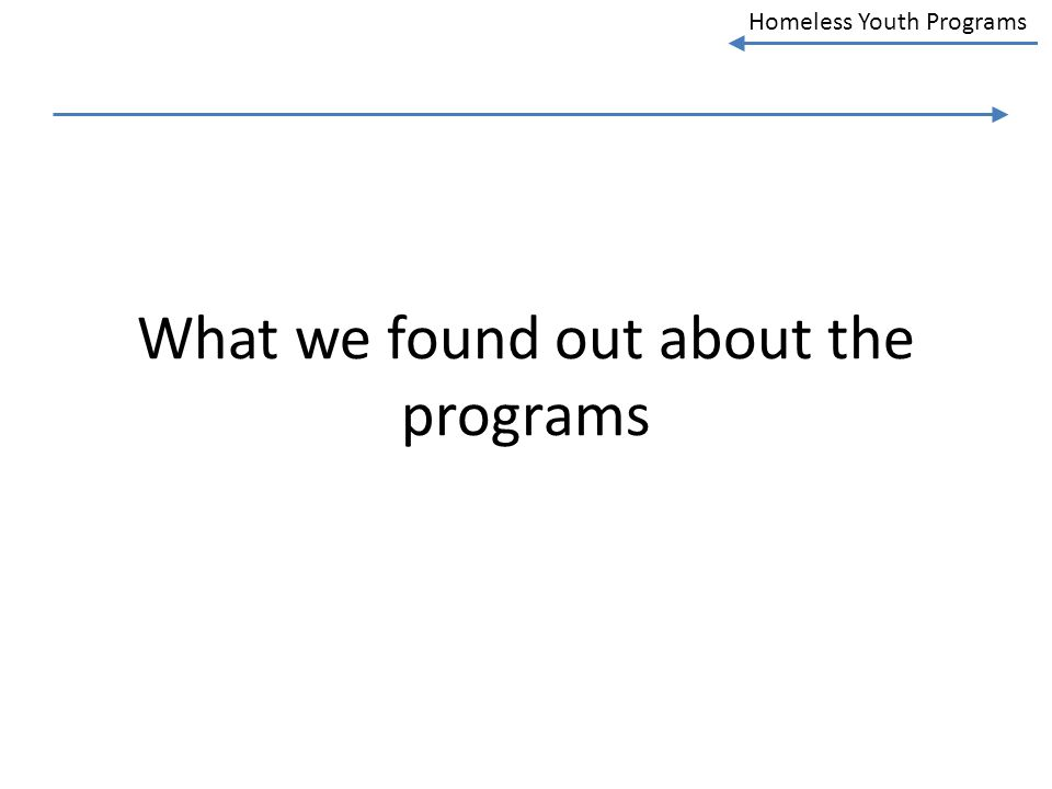 Homeless Youth Programs What we found out about the programs
