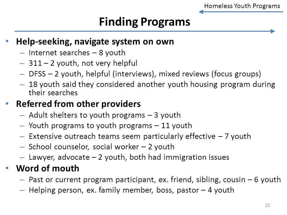 Homeless Youth Programs Finding Programs Help-seeking, navigate system on own – Internet searches – 8 youth – 311 – 2 youth, not very helpful – DFSS –