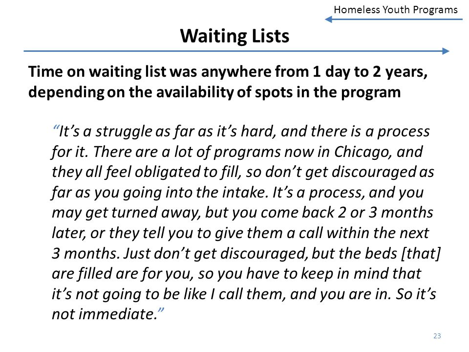 Homeless Youth Programs Waiting Lists Time on waiting list was anywhere from 1 day to 2 years, depending on the availability of spots in the program I