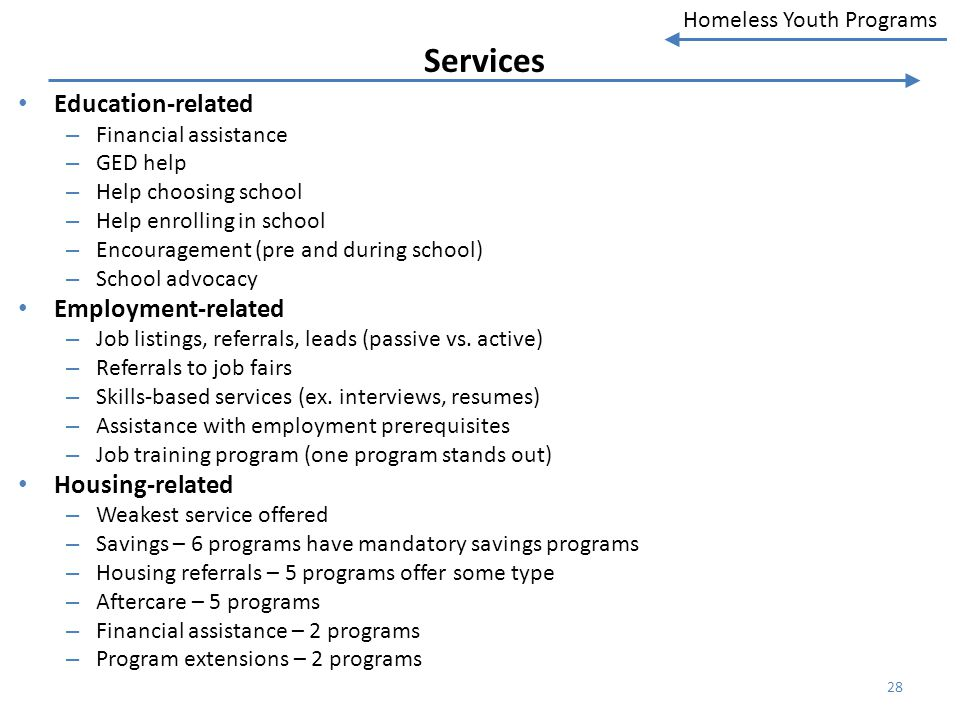 Homeless Youth Programs Services Education-related – Financial assistance – GED help – Help choosing school – Help enrolling in school – Encouragement