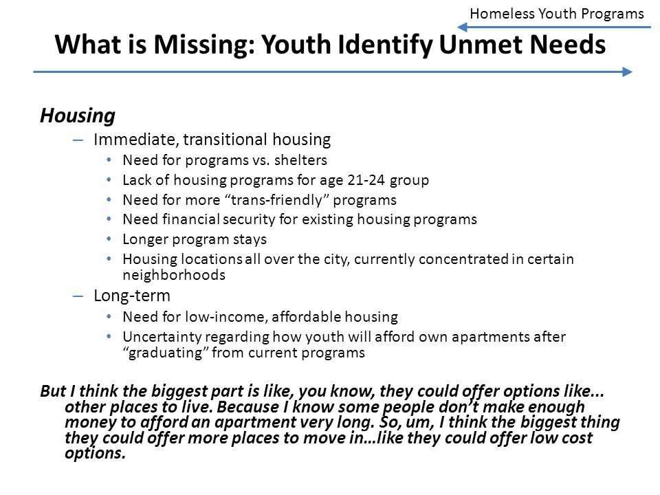 Homeless Youth Programs What is Missing: Youth Identify Unmet Needs Housing – Immediate, transitional housing Need for programs vs. shelters Lack of h