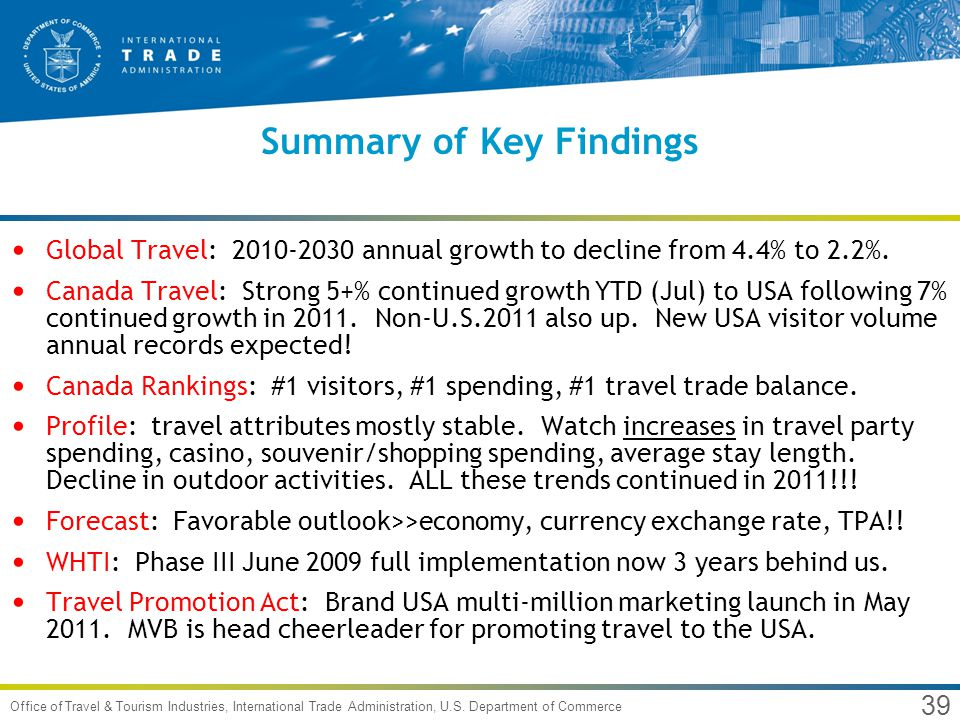 39 Office of Travel & Tourism Industries, International Trade Administration, U.S. Department of Commerce Summary of Key Findings Global Travel: 2010-