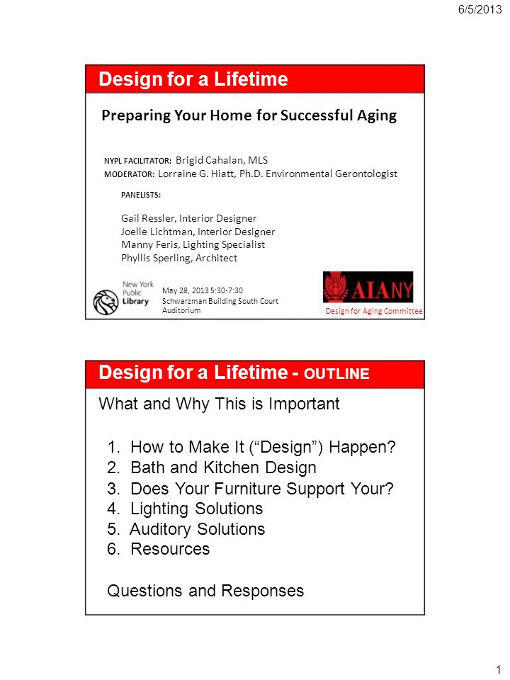 6/5/2013 Design for a Lifetime Preparing Your Home for Successful Aging NYPL FACILITATOR: Brigid Cahalan, MLS MODERATOR: Lorraine G. Hiatt, Ph.D. Envi