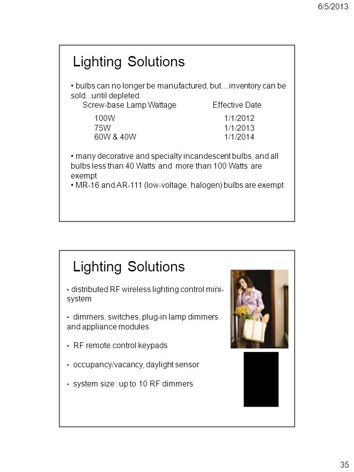 6/5/2013 Lighting Solutions bulbs can no longer be manufactured, but…inventory can be sold...until depleted: Screw-base Lamp WattageEffective Date 100W1/1/2012 75W1/1/2013 60W & 40W1/1/2014 many decorative and specialty incandescent bulbs, and all bulbs less than 40 Watts and more than 100 Watts are exempt MR-16 and AR-111 (low-voltage, halogen) bulbs are exempt Lighting Solutions distributed RF wireless lighting control mini- system dimmers, switches, plug-in lamp dimmers and appliance modules RF remote control keypads occupancy/vacancy, daylight sensor system size: up to 10 RF dimmers 35