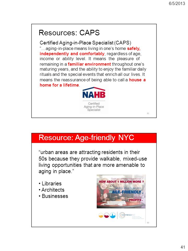 6/5/2013 Resources: CAPS Certified Aging-in-Place Specialist (CAPS) …aging-in-place means living in ones home safely, independently and comfortably, regardless of age, income or ability level.