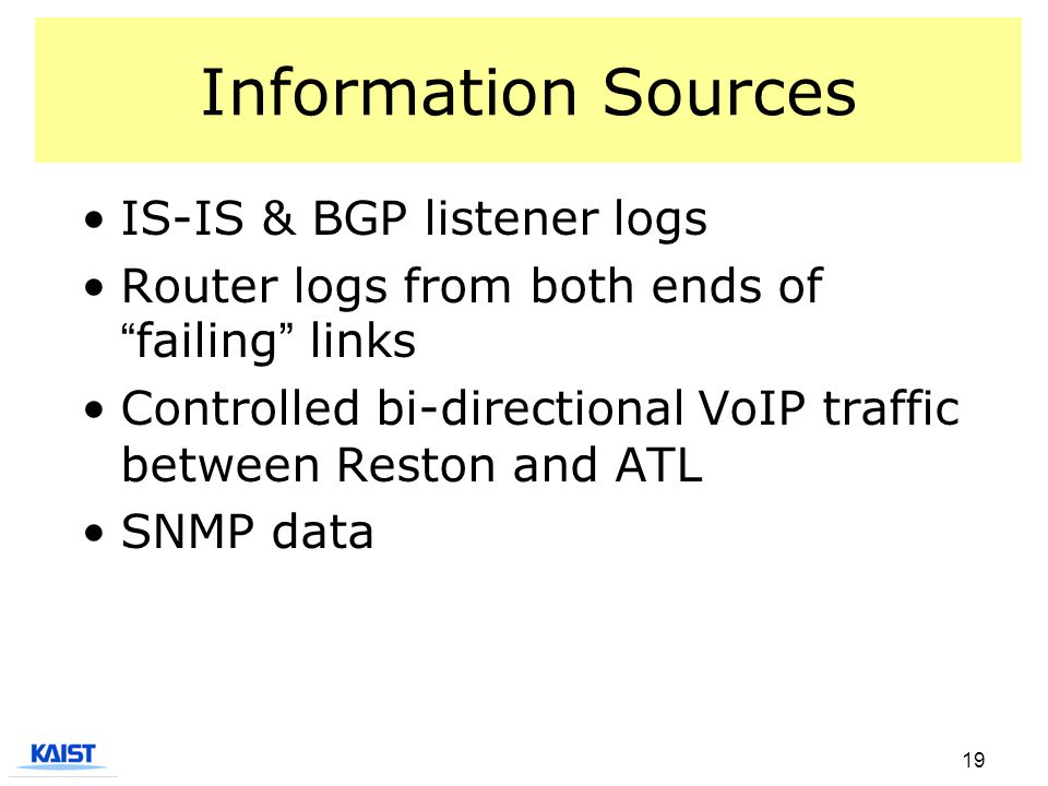 19 Information Sources IS-IS & BGP listener logs Router logs from both ends of failing links Controlled bi-directional VoIP traffic between Reston and ATL SNMP data