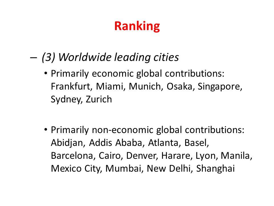Ranking – (3) Worldwide leading cities Primarily economic global contributions: Frankfurt, Miami, Munich, Osaka, Singapore, Sydney, Zurich Primarily n