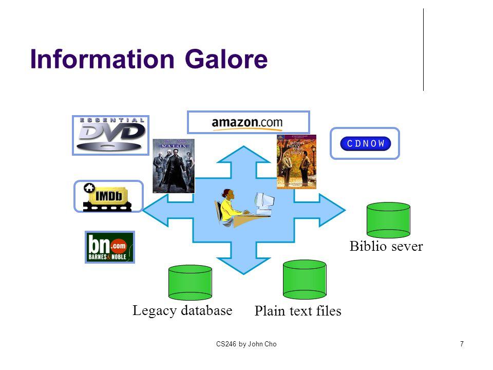 CS246 by John Cho7 Legacy database Plain text files Biblio sever Information Galore