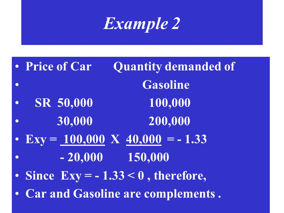 Example 2 Price of Car Quantity demanded of Gasoline SR 50,000 100,000 30,000 200,000 Exy = 100,000 X 40,000 = - 1.33 - 20,000 150,000 Since Exy = - 1