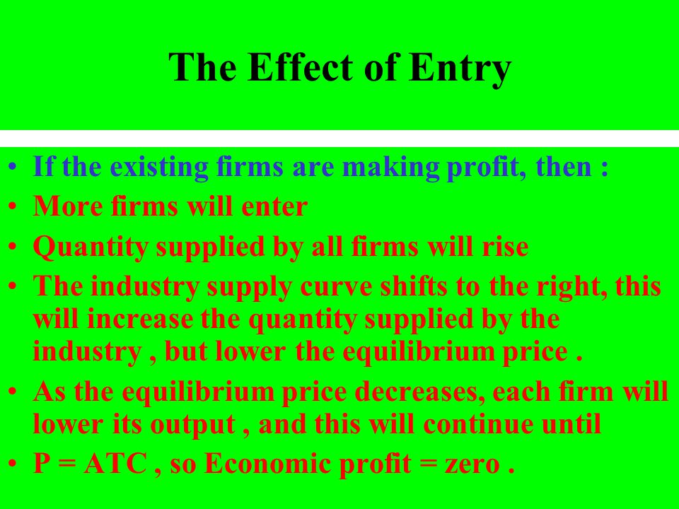 The Effect of Entry If the existing firms are making profit, then : More firms will enter Quantity supplied by all firms will rise The industry supply