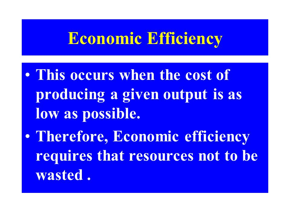 Economic Efficiency This occurs when the cost of producing a given output is as low as possible. Therefore, Economic efficiency requires that resource