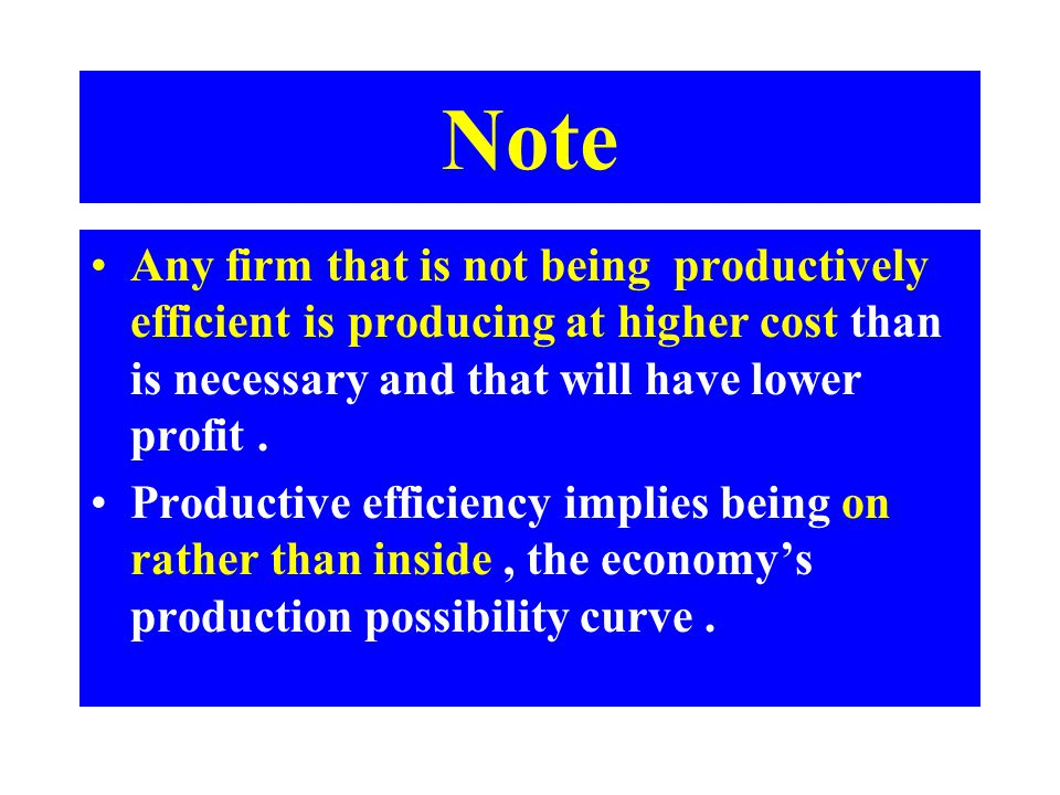 Note Any firm that is not being productively efficient is producing at higher cost than is necessary and that will have lower profit. Productive effic