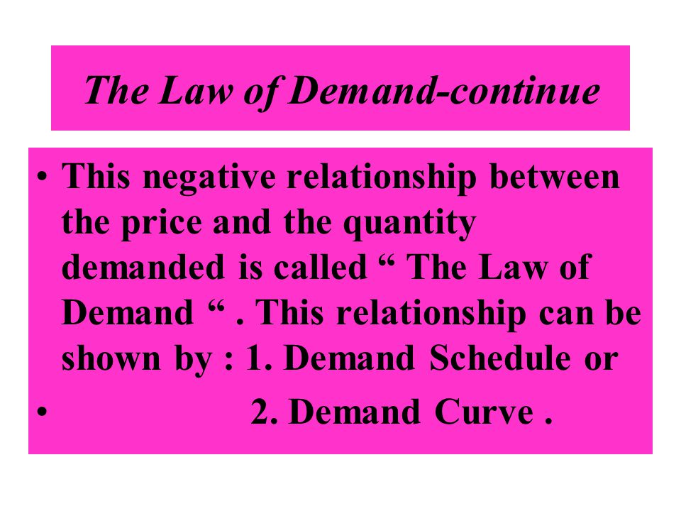 The Law of Demand-continue This negative relationship between the price and the quantity demanded is called The Law of Demand. This relationship can b