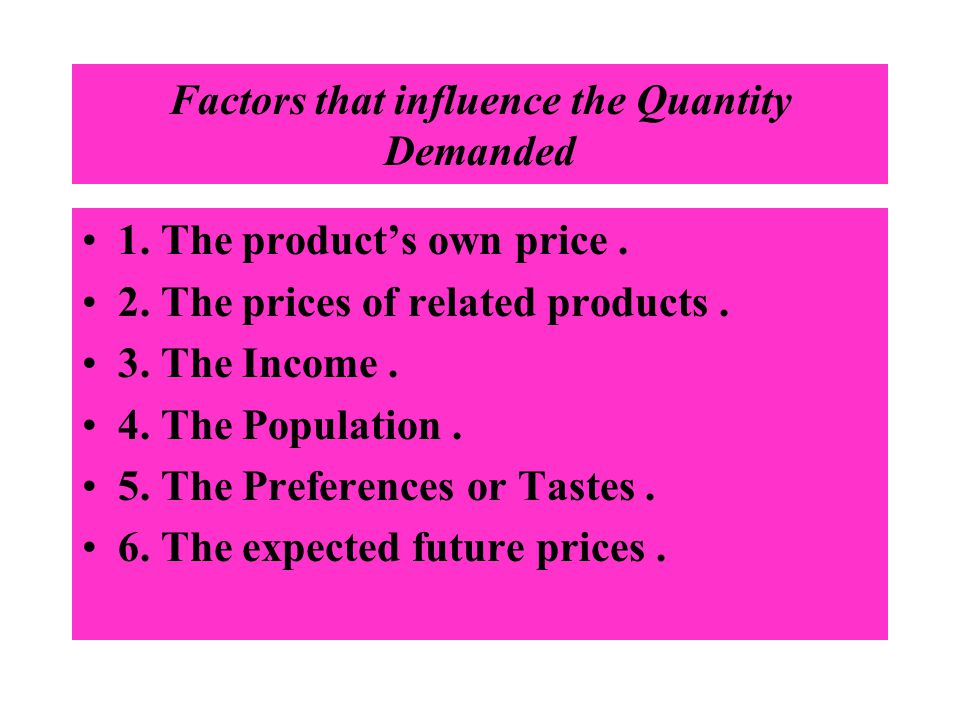 Factors that influence the Quantity Demanded 1. The products own price. 2. The prices of related products. 3. The Income. 4. The Population. 5. The Pr