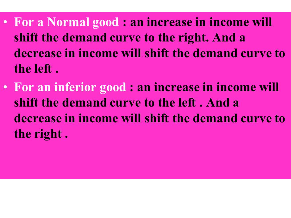 Consumer Income-continue For a Normal good : an increase in income will shift the demand curve to the right. And a decrease in income will shift the d
