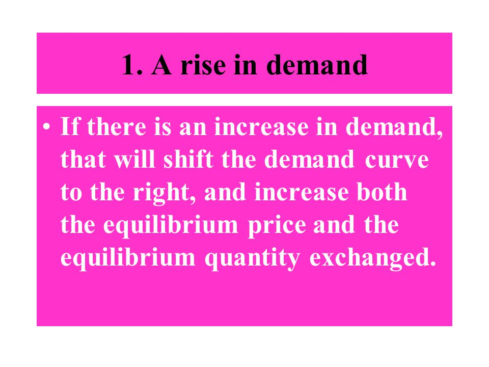 1. A rise in demand If there is an increase in demand, that will shift the demand curve to the right, and increase both the equilibrium price and the