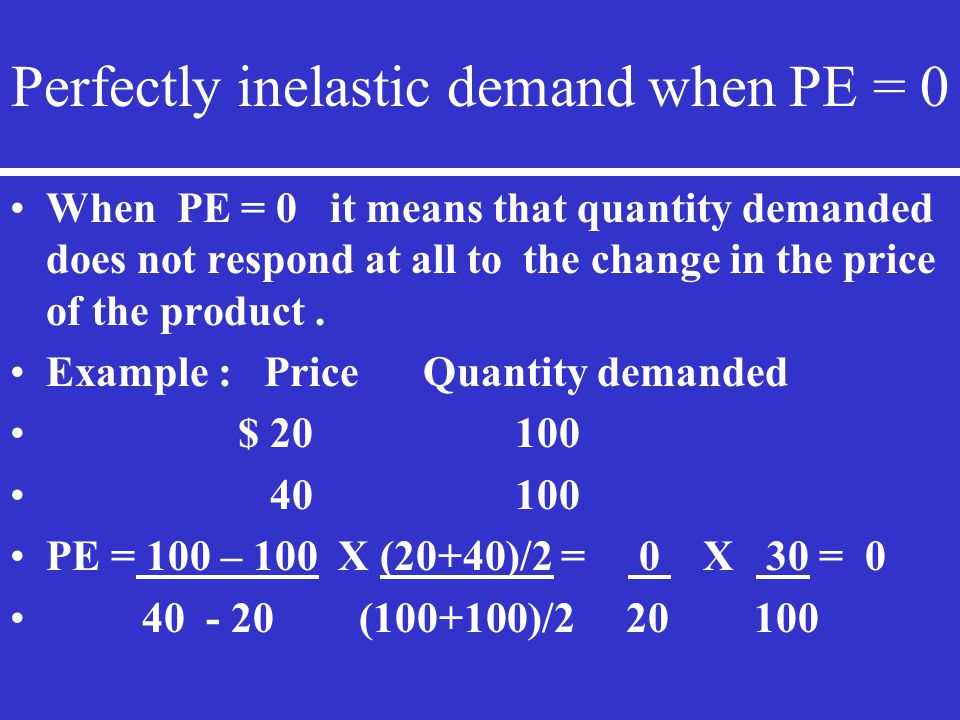 Perfectly inelastic demand when PE = 0 When PE = 0 it means that quantity demanded does not respond at all to the change in the price of the product.