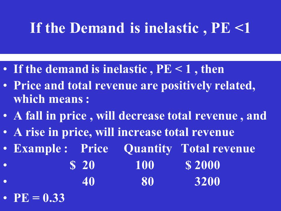 If the Demand is inelastic, PE <1 If the demand is inelastic, PE < 1, then Price and total revenue are positively related, which means : A fall in pri
