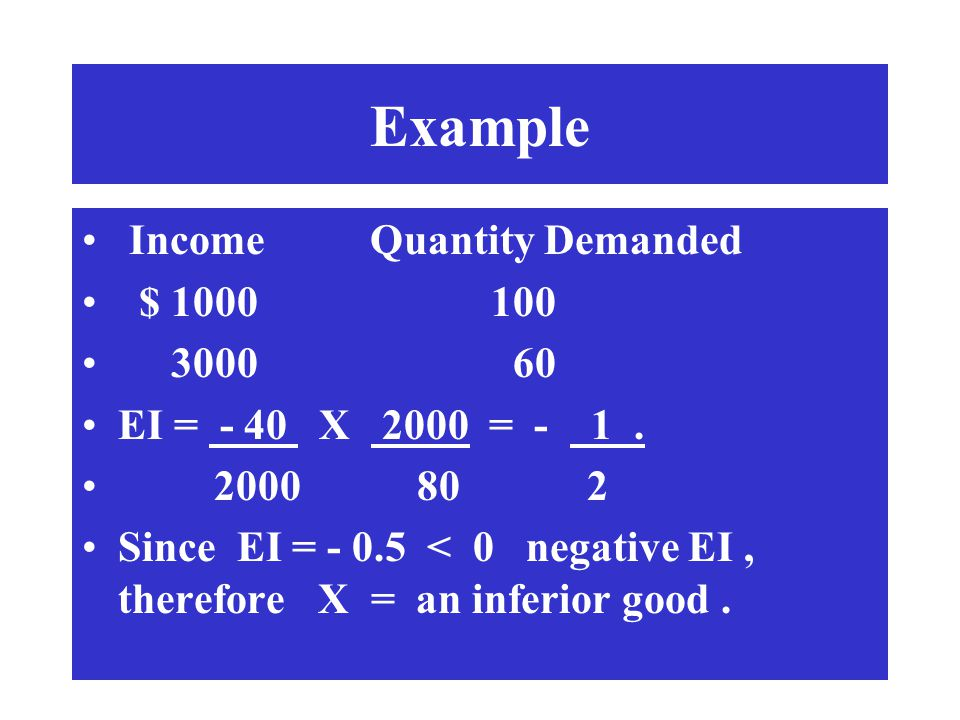 Example Income Quantity Demanded $ 1000 100 3000 60 EI = - 40 X 2000 = - 1. 2000 80 2 Since EI = - 0.5 < 0 negative EI, therefore X = an inferior good