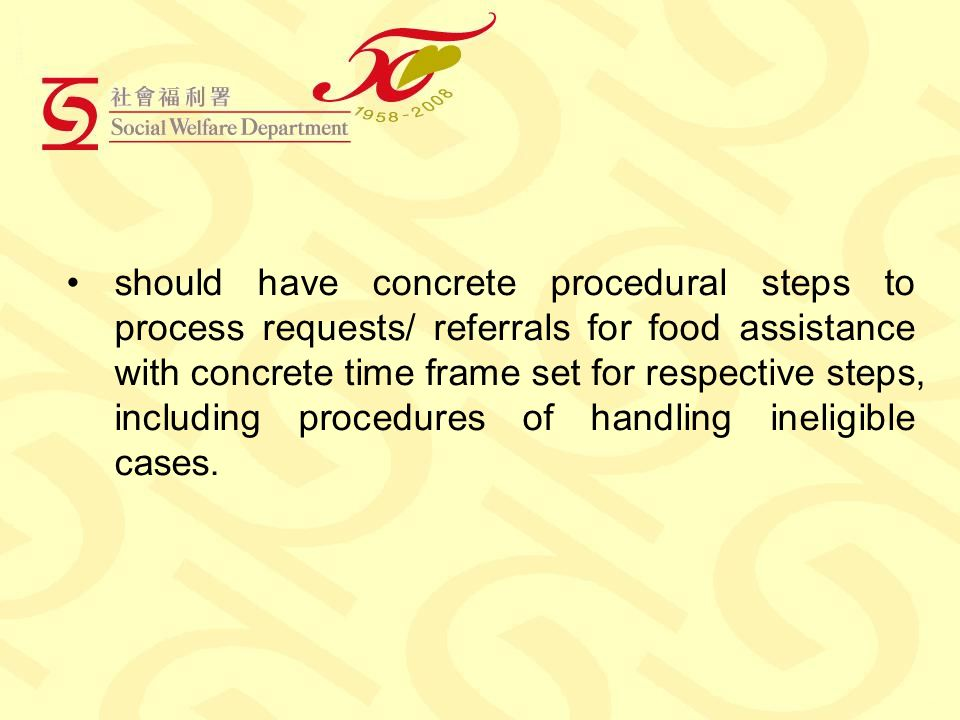 should have concrete procedural steps to process requests/ referrals for food assistance with concrete time frame set for respective steps, including procedures of handling ineligible cases.