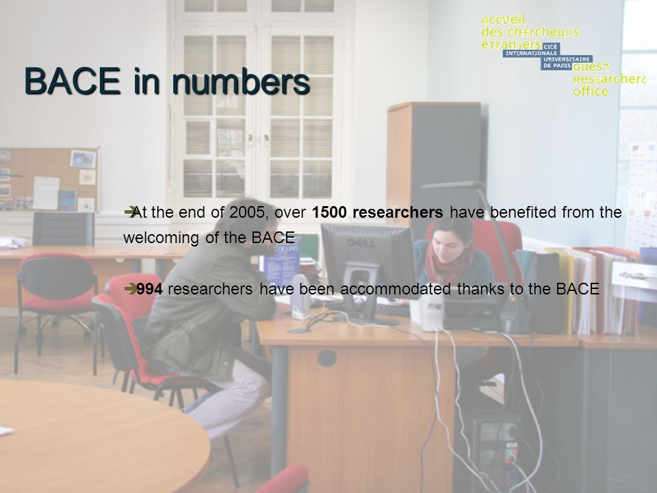 BACE in numbers At the end of 2005, over 1500 researchers have benefited from the welcoming of the BACE 994 researchers have been accommodated thanks