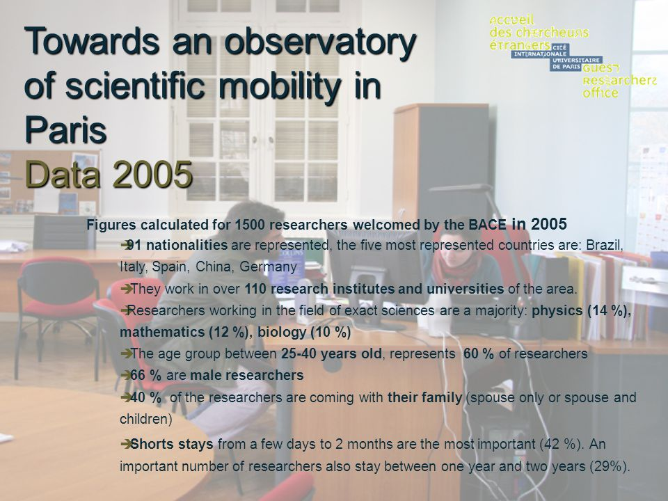 Towards an observatory of scientific mobility in Paris Data 2005 Figures calculated for 1500 researchers welcomed by the BACE in 2005 91 nationalities