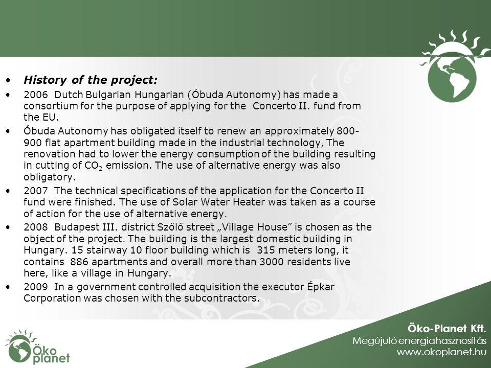 Öko-Planet Kft. Megújuló energiahasznosítás www.okoplanet.hu History of the project: 2006Dutch Bulgarian Hungarian (Óbuda Autonomy) has made a consort